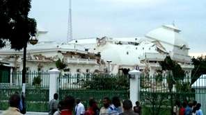 The Haitian presidential palace in ruins on Jan.