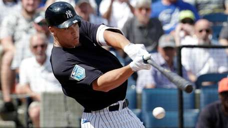 Yankees outfielder Aaron Judge strikes out swinging during