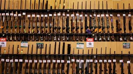 Guns on display at Dick's Sporting Goods Inc.