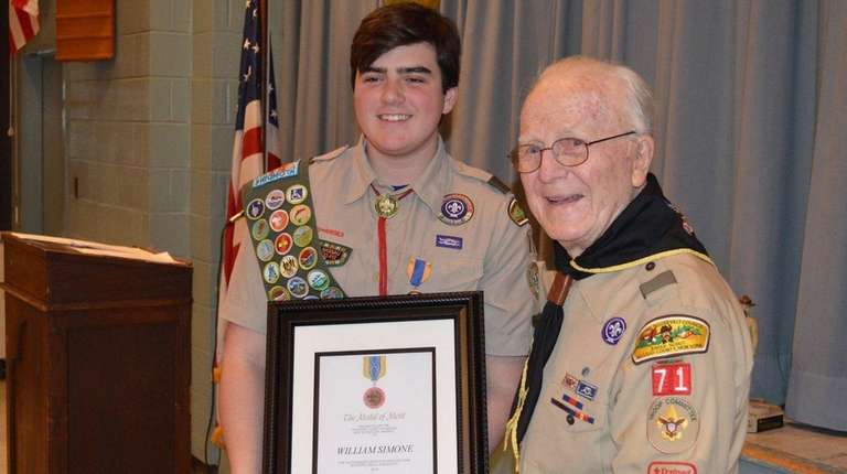 William Simone has received the Boy Scouts' Medal