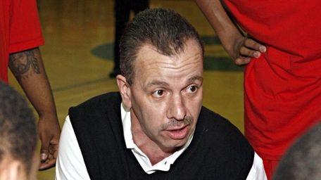 Amityville boys basketball head coach Jack Agostino during