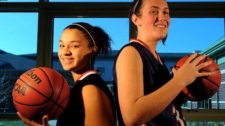 Smithtown West girls basketball players Shneeka Center, left,