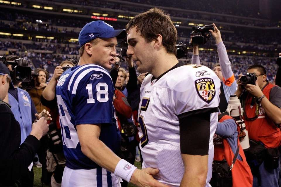 Peyton Manning #18 of the Indianapolis Colts greets