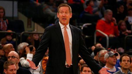 Head coach Jeff Hornacek of the Knicks reacts