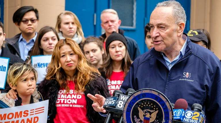 Sen. Chuck Schumer, joined by students and parents
