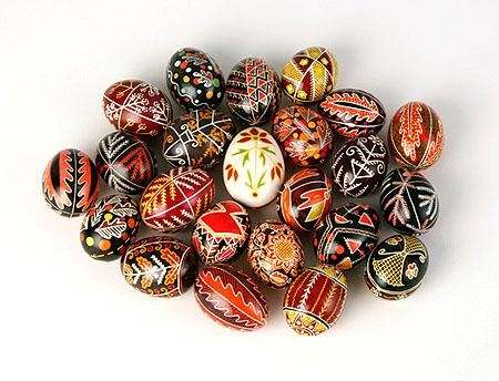 Eggs decorated using the Easter European art of