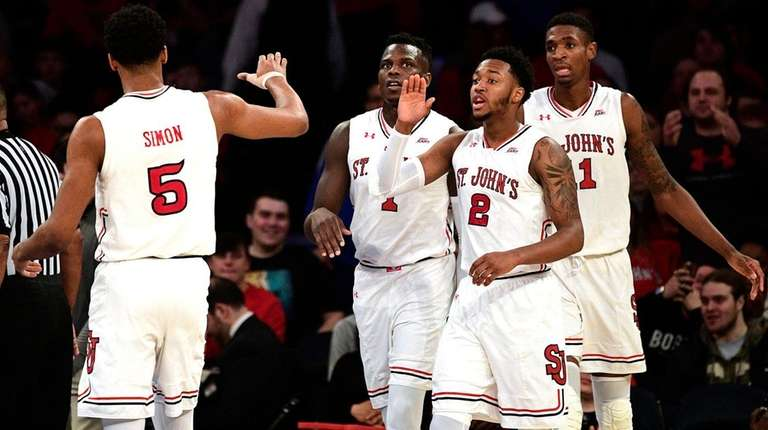 St. John's celebrates a basket against Seton Hall
