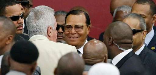 Nation of Islam leader Louis Farrakhan arrives at