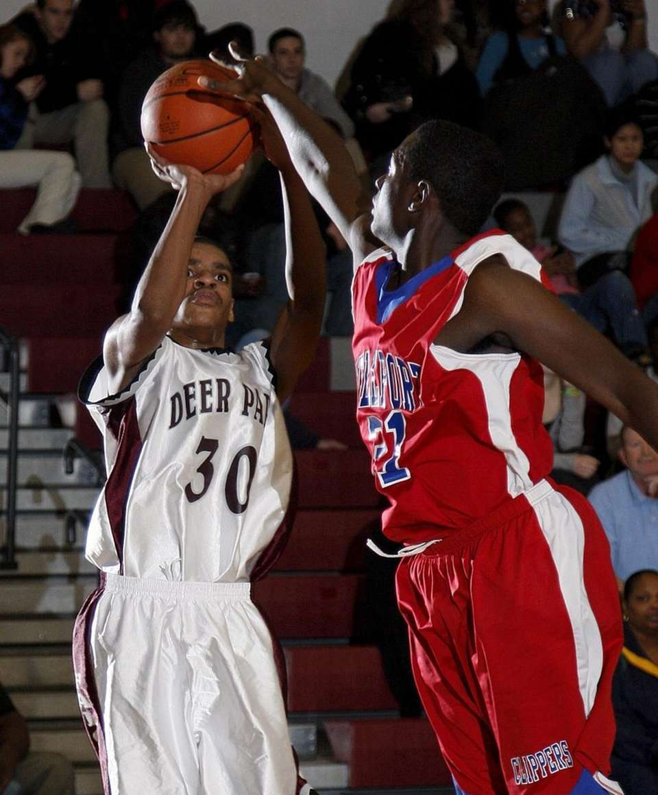 Deer Park's Marques Charlton's (30) shot is blocked