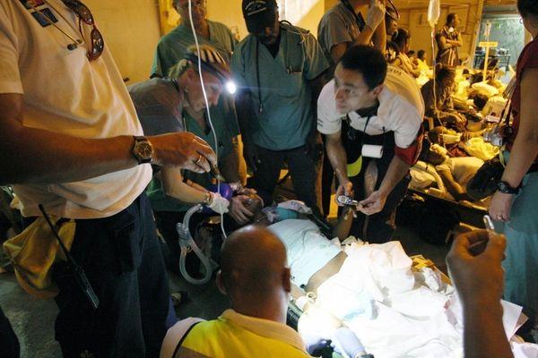 A Haitian injured quake survivor is treated at