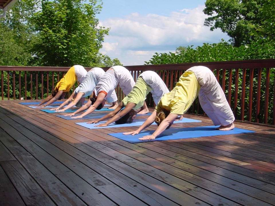 Yoga class at the Sivananda Yoga Ranch in