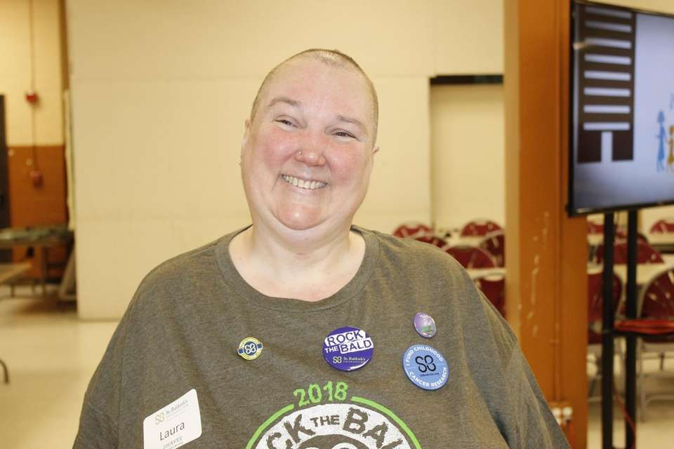 Laura Hebenstreit, of Middle Island, shaved her head