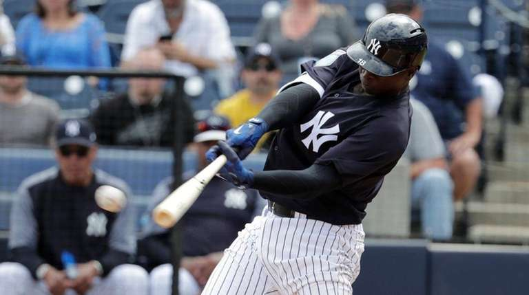 The Yankees' Didi Gregorius hits a single during