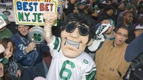 Jets fans gather in Times Square for the