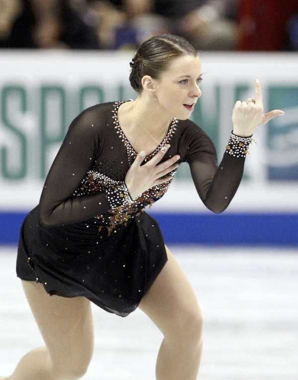 Emily Hughes competes during the ladies short program