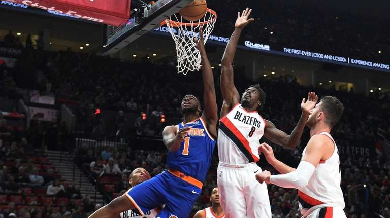 Knicks guard Emmanuel Mudiay has his shot blocked