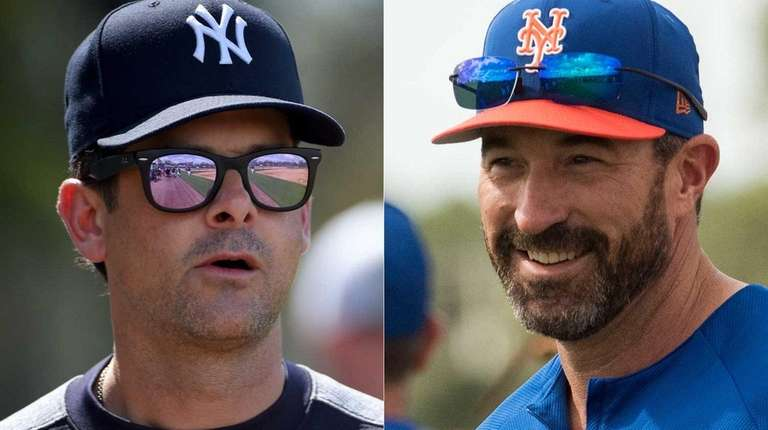 Yankees manager Aaron Boone and Mets manager Mickey