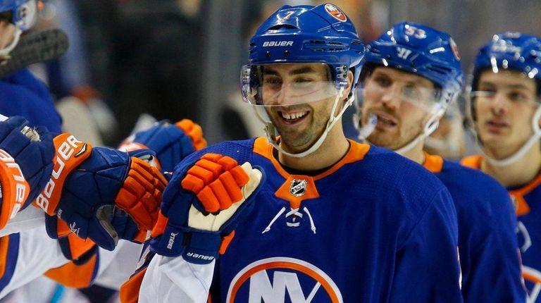 Jordan Eberle of the Islanders celebrates his goal