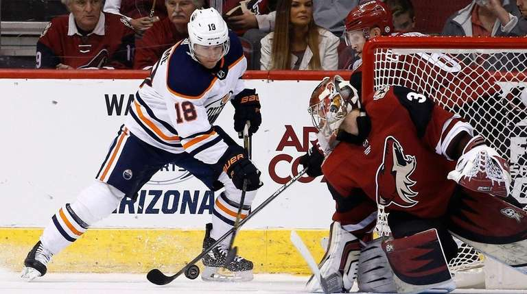 Oilers center Ryan Strome has his shot stopped