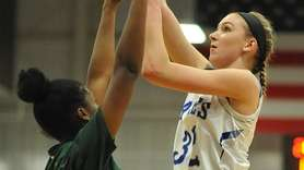 Lauren Romito of Hauppauge, right, shoots a contested