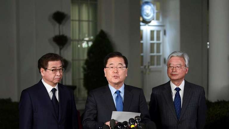 South Korean national security director Chung Eui-yong, center,