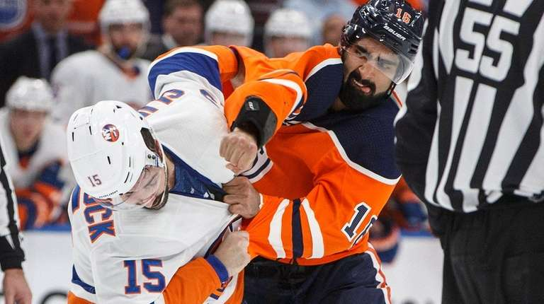 The Islanders' Cal Clutterbuck and the Oilers' Jujhar