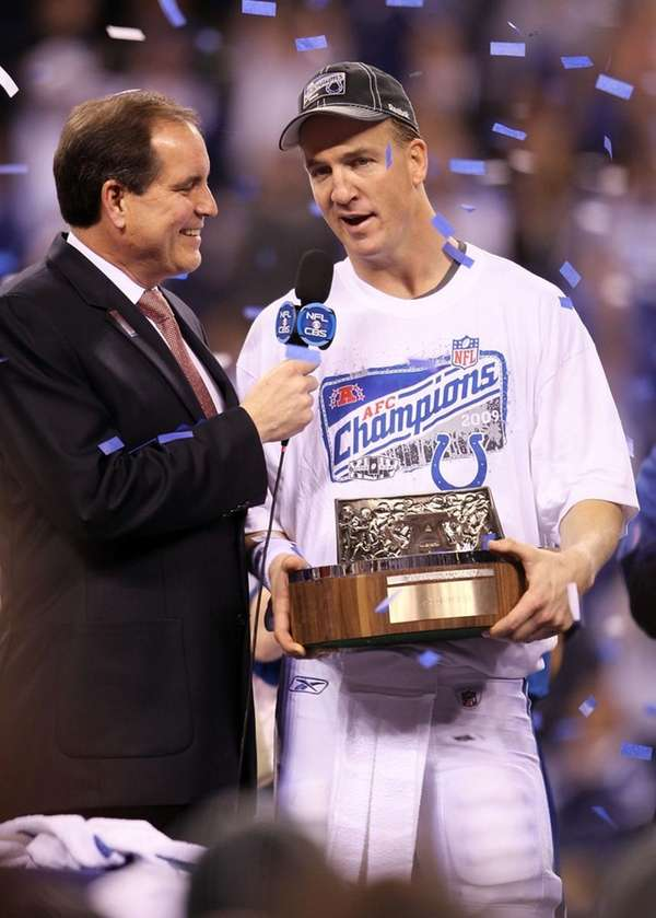 Quarterback Peyton Manning of the Indianapolis Colts holds