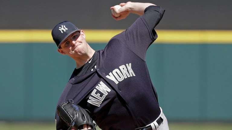 The Yankees' Jordan Montgomery pitches against the Tigers
