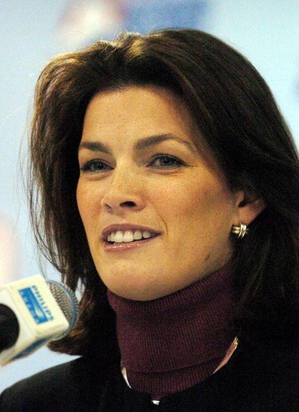 Former figure skater Nancy Kerrigan speaks to reporters