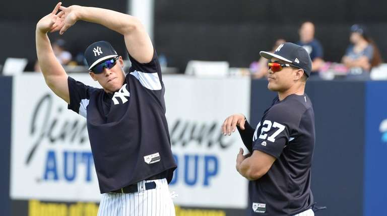 The Yankees' Aaron Judge, left, and Giancarlo Stanton