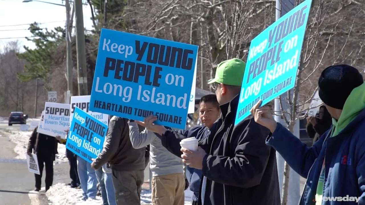 Supporters and protesters gathered in Dix Hills to