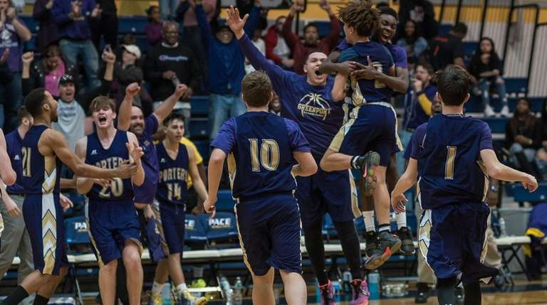 Greenport players revel their win in state Class