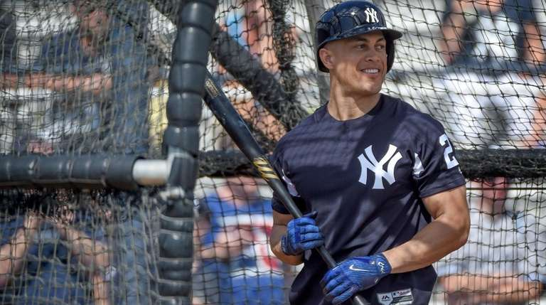 The Yankees' Giancarlo Stanton takes batting practice during
