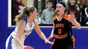 East Rockaway's Rachel O'Hagen defends against Millbrook in