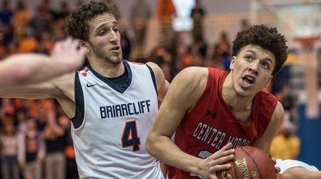 Center Moriches' Sean Braithwaite drives to the net