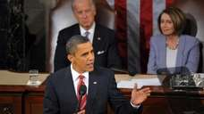 US President Barack Obama delivers his first State