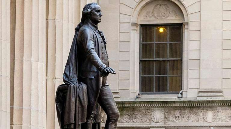 The statue of George Washington outside Federal Hall