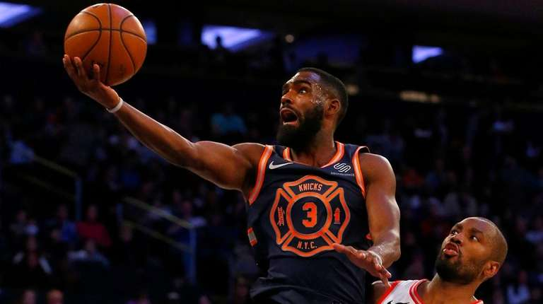 Tim Hardaway Jr. of the Knicks goes to
