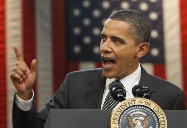 President Barack Obama speaks at a town hall