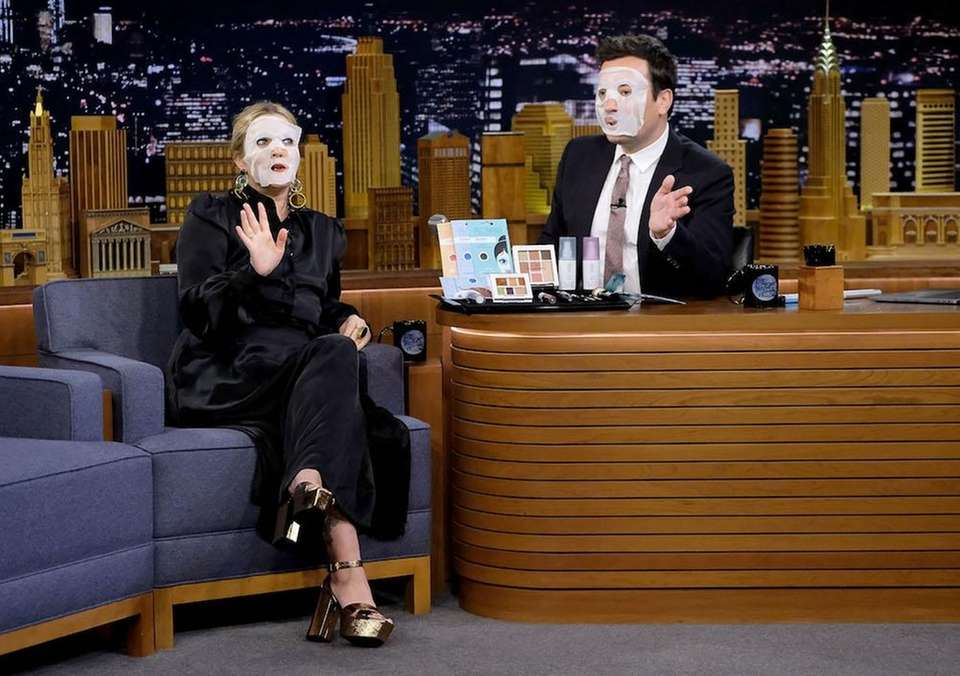 Drew Barrymore and host Jimmy Fallon during a