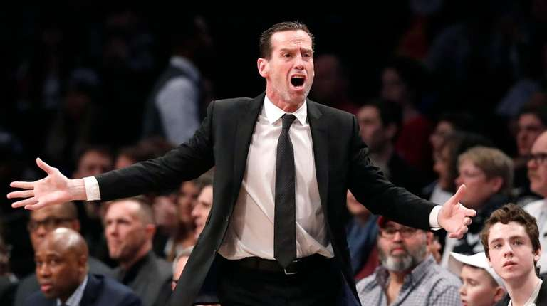 Nets head coach Kenny Atkinson objects to the