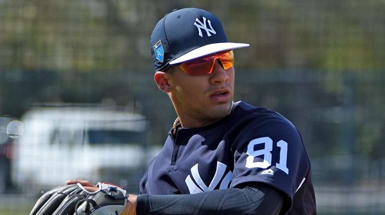 Yankees infielder Gleyber Torres works out during spring