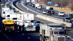 Trucks make their way down the LIE in