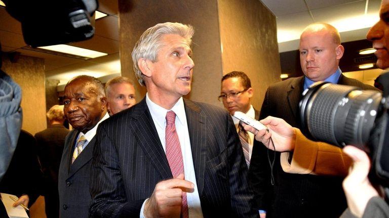 Senate GOP candidate Bruce Blakeman leaves a press