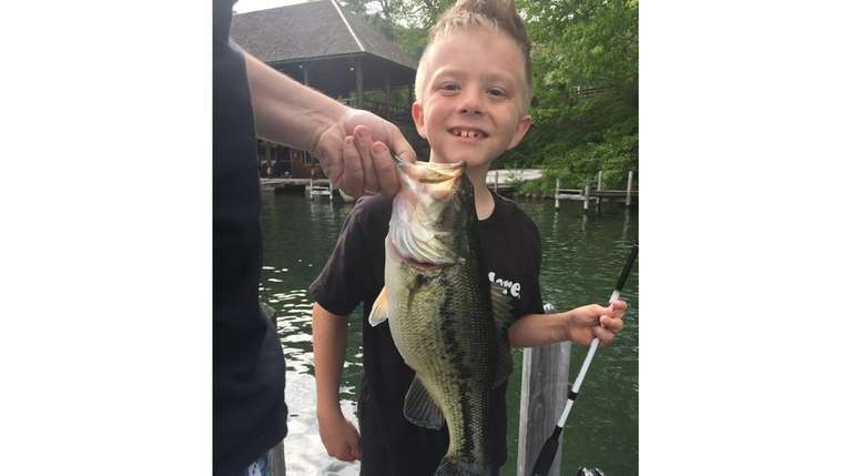 Kidsday reporter Jake Walter-Doza and his 5-pound bass.