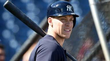 Yankees outfielder Aaron Judge takes batting practice during
