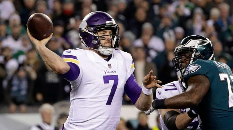 Minnesota quarterback Case Keenum throws during the NFC
