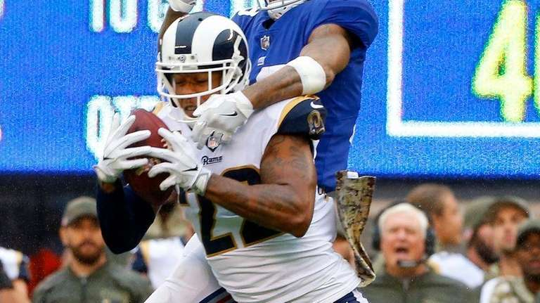 Trumaine Johnson of the Los Angeles Rams intercepts