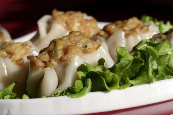A platter of chicken shumai is served at