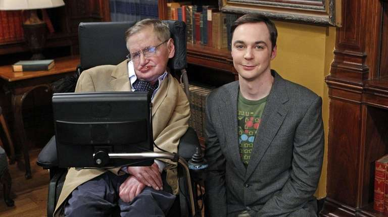 Stephen Hawking, left, with Jim Parsons during a